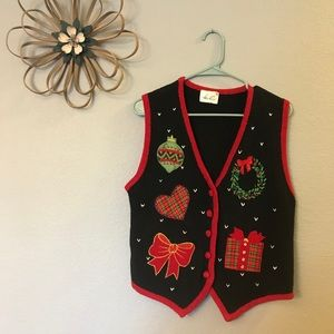 Kathie Lee Collection Christmas Sweater Vest Ugly